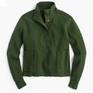 J.crew S Green Wool Ribbed Popover Sweater